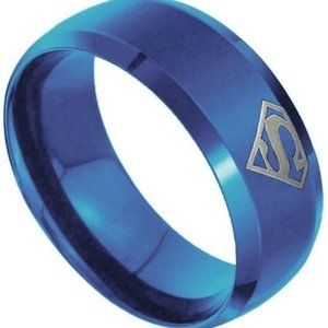 Stainless steel Blue Superman Ring Size 7